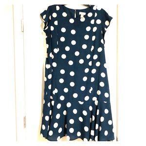 Hunter green & white polka dots dress